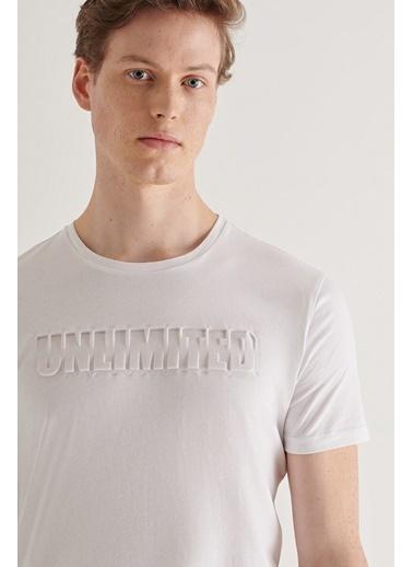 Avva Erkek  Bisiklet Yaka Tişört A11Y1063 Beyaz